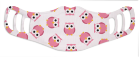 A washable and reusable polyester lovely pink owls printed cloth face mask for kids, with three ear holes by each side